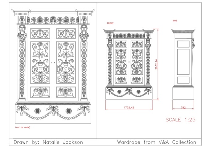 Technical drawing example - wardrobe
